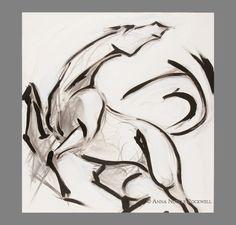 """Spirited Horse Art Oil Painting by Anna Noelle Rockwell-""""Revolt""""."""