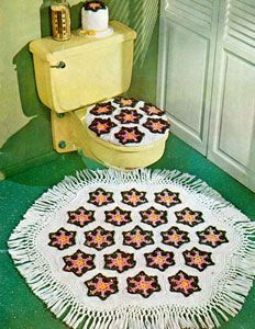 Flower Bathroom Set - Free Crochet Pattern - (freevintagecrochet)