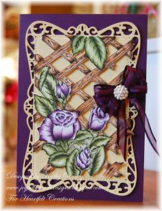 Heartfelt Creations using Bella Rose Lattice Background Set colored with pencils and mineral spirits and fussy cut.
