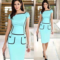 Fashion Contrast Color Slim Fit Short Sleeve Dress