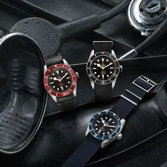 "The Tudor Heritage Black Bay ""Black"" joins the original model, with a burgundy bezel, and 2014's ""Midnight Blue"" version. Read more at: http://www.watchtime.com/wristwatch-industry-news/watches/a-darker-diver-introducing-the-tudor-heritage-black-bay-black/ #tudorwatches #watchtime #divewatch"