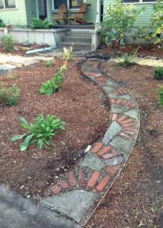 our new garden paths • broken concrete,  old bricks • set on decomposed granite • filled with pea gravel