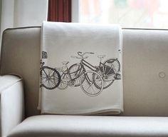 Organic Cotton Blanket, Gray Bikes by Jenna Rose - modern - throws - Etsy