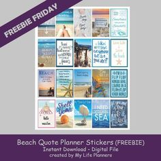 Free Printable Beach Quotes Planner Stickers from My Life Planners