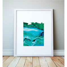 Undercurrent, Ventura, CA; Green and Blue Ink Art Print, Ocean Art,... ($28) ❤ liked on Polyvore