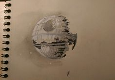 Death star -unfinished- #design4ndmore #saintnazaire #loireatlantique #drawing #draw #dessin #sketch #sketchbook #sketches #ink #deathstar #etoiledelamort #starwars #weapon #planet #star #empire #georgeslucas #movie #sf #art #space #instaday #instarwars #instadraw