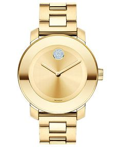 Movado Swiss Bold Medium Gold Ion Plated Stainless Steel Bracelet Watch 36mm 3600104