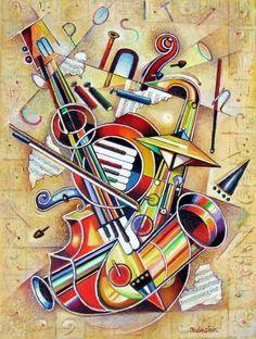 """Israel Rubinstein (Israeli, born 1944) """"Music VII"""""""