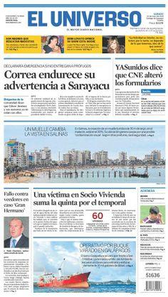 Portada de #DiarioELUNIVERSO del sábado 10 de mayo del 2014. Las #noticias de #Ecuador y el mundo en: www.eluniverso.com