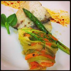 Corvina con tallarines de verdura y caviar cítrico #jgsp65