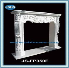 Stone Carved marble fireplace mantel White Fireplace Mantels, Marble Fireplaces, Marble Carving, Wooden Crates, Animal Sculptures, Travertine, Pure White, White Marble, Fountain