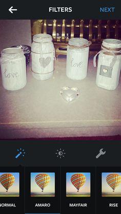 Homemade jars for wedding table