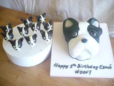 3D carved French Bulldog cake with matching cake pops