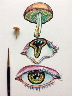 Discover recipes, home ideas, style inspiration and other ideas to try. Trippy Drawings, Psychedelic Drawings, Art Drawings Sketches, Mushroom Drawing, Mushroom Art, Metamorphosis Art, Nail Art Noel, Hippie Painting, Hippie Drawing