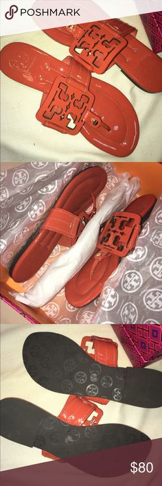 Tory Burch Miller Sandals These are the older model Miller sandals, never worn and in box. Bright orange color. Tory Burch Shoes Sandals