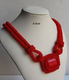Beaded red seed bead pendant necklace, Right Angle Weave, OOAK