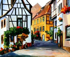 GERMANY - TOWN ON THE HILL by Leonid Afremov