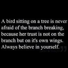 Trust your wings...they are not broken anymore...you will fly