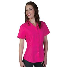 Show details for Roselina Blouse Short Sleeve Corporate Uniforms, Polycotton Fabric, Crop Image, Logo Gallery, Shirt Blouses, Shirts, Shirt Store, Tool Design, Classy