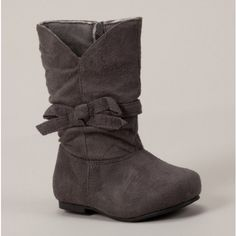 Girls Grey Bow Boots