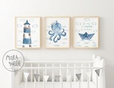 Sailor Octopus Set - Little sailor in blue shades. Marine style decor, little captain, boat, ocean prints. Nautical Baby Nursery, Ocean Nursery, Nautical Wall Decor, Baby Boy Room Decor, Baby Boy Rooms, Nursery Decor, Sailor Room, Living Room Setup, Kids Room Wall Art