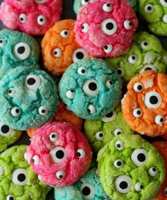 Gooey Monster Eye Cookies Ingredients 1 Yellow Cake Mix Box 1/2 cup butter softened 1/2 tsp. vanilla 1 8 oz. bar cream cheese softened 1 egg green food coloring powdered sugar candy eyeballs  Instructions https://www.facebook.com/photo.php?fbid=10152850149841667&set=oa.1469009030054357&type=3&theater