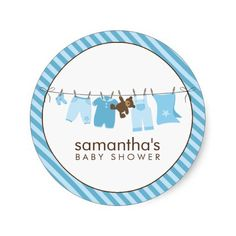Shop Baby Clothesline {blue} Classic Round Sticker created by heartlocked. Clothes Line, Round Stickers, Custom Stickers, Activities For Kids, Diy Projects, Baby Shower, Scrapbook, Make It Yourself, Paper