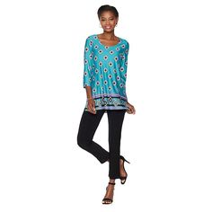 Slinky® Brand Border-Print Long Tunic and Skinny Pant Set - Jade Geo/Black