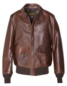 Brown leather flight jacket in a waxy natural pebbled cowhide with two front patch pockets, snap down collar, knit bottom and cuffs. Brown Leather Jacket Men, Leather Flight Jacket, Leather Jackets, Leather Coats, Battle Jacket, Well Dressed Men, Jacket Style, Men's Jackets, Bomber Jackets