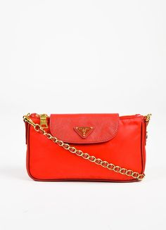 Prada Red and Gold Toned Nylon Saffiano Leather Trim Chain Link Shoulder Bag