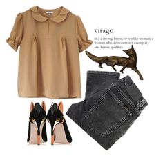 """virago"" by gretamariaa ❤ liked on Polyvore featuring Nudie Jeans Co., RED Valentino, simple, orange, MyStyle and fox"