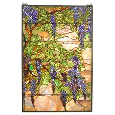 Meyda Tiffany Tiffany Wisteria and Snowball Stained Glass Window                                                                                                                                                                                 More