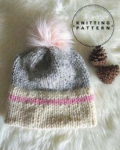 Knitting Pattern ADULT size Double Brim Hiker Beanie | Etsy Knitting Designs, Knitting Patterns Free, Free Knitting, Crochet Beanie Pattern, Faux Fur Pom Pom, True North, Circular Knitting Needles, Color Combinations, Knits