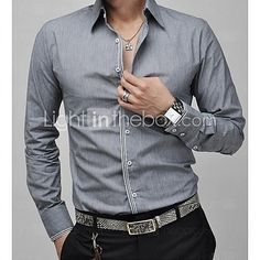 Men Shirt Luxury Brand 2016 Male Long Sleeve Shirts Casual Mens Simple Solid Single Breasted Slim Fit Dress Shirts Mens XXL - The Big Boy Store Casual Shirts For Men, Men Casual, Stylish Mens Fashion, Fashion Suits, Stylish Outfits, Men's Fashion, Slim Fit Dress Shirts, Mens Tops, Men Shirt