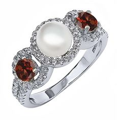 1.54 Ct Round Cultured Freshwater Pearl Red Garnet 925 Sterling Silver Ring (Available in size 5, 6, 7, 8, 9) -- Check out the image by visiting the link.