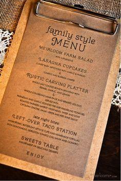Menu Design Ideas, Catering Families Style, Restaurant Design Ideas Rustic, Menu Cards, Clipboards, Events Planners, Rustic Wedding Food Menu Ideas, Menu ...