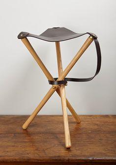 Three Legged Leather Stool Vintage Footstool Or By