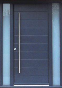 Unique contemporary front door with grid design. Mahogany double ...