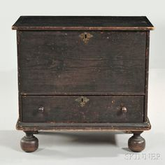 Spanish Brown-painted Pine Small Chest over Drawer. Skinner, $8610.