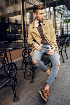 I love everything about this outfit :-) Zara Shoes, Diesel Jeans, H&M Sweater, Bershka Coat, H&M Shirt Look Street Style, Men With Street Style, Diesel Jeans, Casual Chic Outfits, Men Casual, Smart Casual, Mantel Outfit, Mode Man, Herren Style