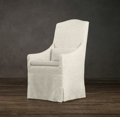 Slipcovered Camelback Dining Armchair Slipcover Fabric Arm Side Chairs Restoration Hardware