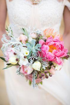 Bright bouquet: http://www.stylemepretty.com/2015/04/17/rustic-chic-desert-elopement-inspiration/   Photography: Maison Meredith Photography - www.maisonmeredith.com