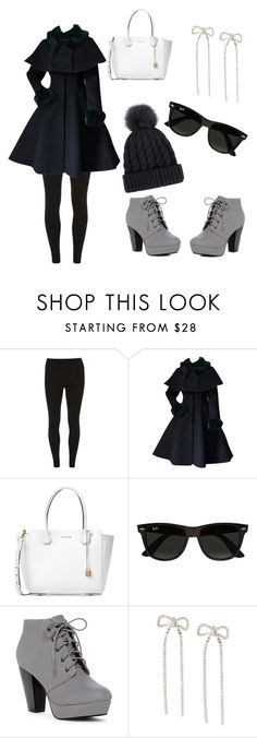 """""""They say dark colors keep the warmth in!"""" by rockstar1028 ❤ liked on Polyvore featuring Dorothy Perkins, Michael Kors, Ray-Ban and Banana Republic"""