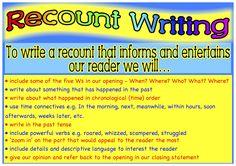 Recount writing success criteria.  Classroom Treasures: Recount Writing