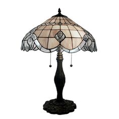 Warehouse of Tiffany 24 in. Bronze Table Lamp with Pearl White Baroque-1724BB06 - The Home Depot