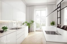 'Parisian apartment' style, white kitchen in a townhouse. Simple and pure kitchen with an island and Teka appliances. Interior design and visuals by Kola Studio.