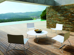SLIM, designed by Wolfgang Pichler for Viteo - Austria. Shaped Corian seat and back with brushed or powder coated marine grade stainless legs. Cushions available in wide range of modern exterior fabrics. Garden Chairs, Garden Furniture, Modern Outdoor Lounge Furniture, Low Chair, Low Tables, Corian, Modern Exterior, Austria, Contemporary Design
