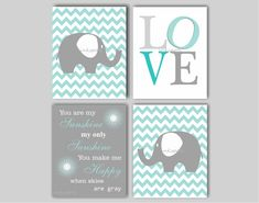 Everyone loves elephants and this modern elephant print collection will look wonderful in your elephant nursery! Fully customizable in colors to coordinate with your nursery, this print collection includes two elephant prints on chevron backgrounds, a LOVE print, and your choice of either the You Are My Sunshine print, Dream Big print OR First We Had Each Other print. To customize the print collection, just send me a link or photo of your color choices and I will work on colors for the…
