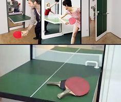 PING PONG TABLE HIDDEN IN A DOOR. La Porta Ping Pong, aprendola sull'asse x si trasforma in un tavolo per il ping pong. Ideale in ufficio per una pausa con i colleghi. Via gadgetreview.com