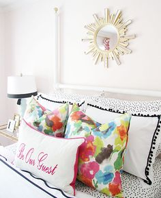 Guest Bedroom | Bright Bedroom | Floral Pillows | Embroidered Pillow | Sunburst Mirror | Be Our Guest | DIY Project www.styleyoursenses.com